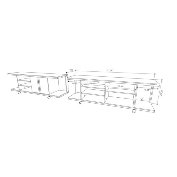 Manhattan Comfort Carnegie TV Stand and Park 1.8 Floating TV Panel - 71-in x 73-in - Nature/Onyx