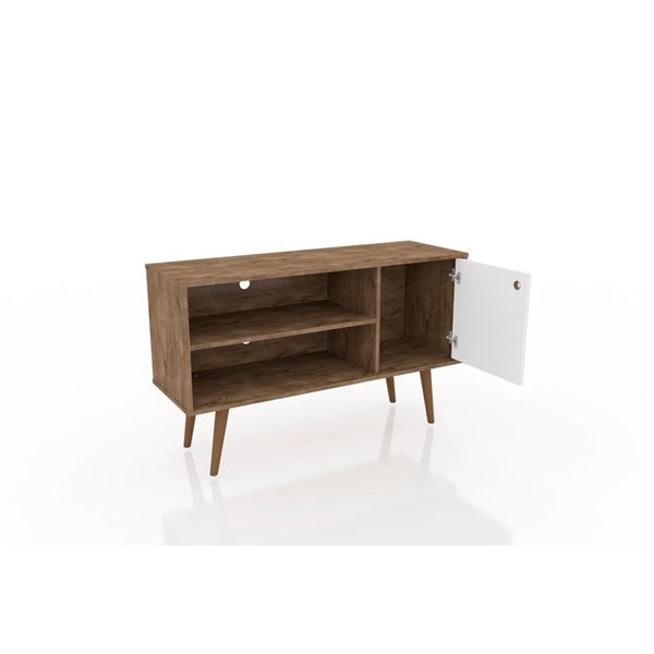 Manhattan Comfort Liberty TV Stand with 2 Shelves and 1 Door - 42.52-in x 25.8-in - Rustic Brown/White