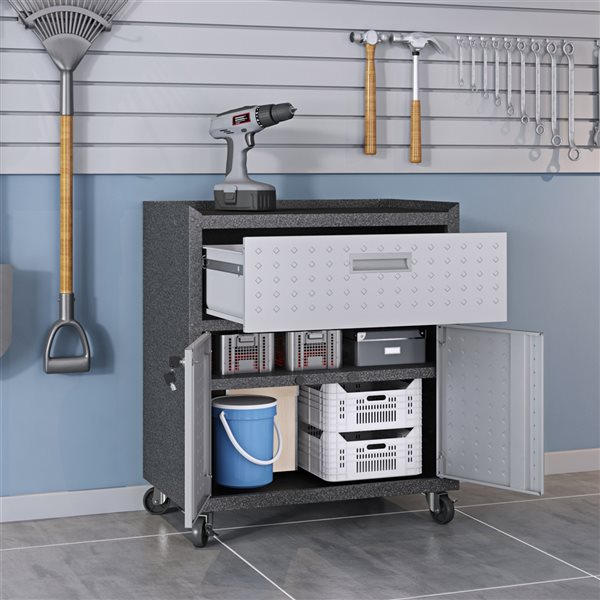 Manhattan Comfort Fortress Mobile Garage Cabinet with Drawer and Shelves - Metal - 30.3-in x 31.5-in - Grey
