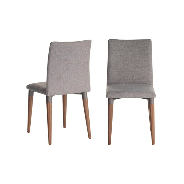 Manhattan Comfort Charles Dining Chairs - Wood/Fabric - 17.71-in x 36.22-in - Grey - Set of 2