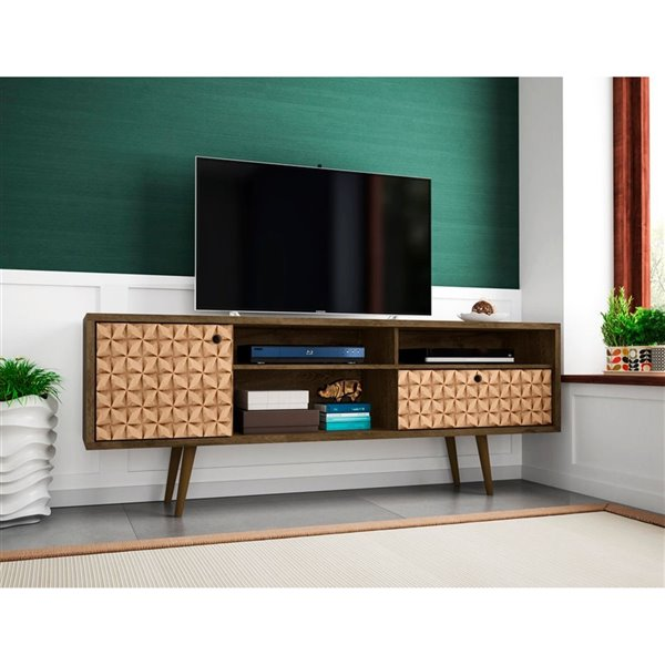 Manhattan Comfort Liberty TV Stand with Shelves and Drawer - 70.86-in x 26.57-in - Rustic Brown/3D Prints