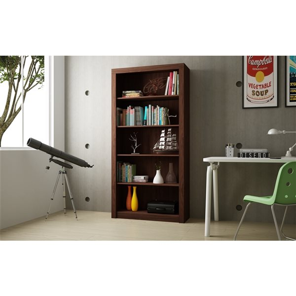 Manhattan Comfort Olinda Bookcase 1.0 with 5 Shelves - 35.63-in x 71.85-in - Nut Brown