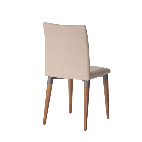 Manhattan Comfort Charles Dining Chairs - Wood/Fabric - 17.71-in x 36.22-in - Dark Beige - Set of 2