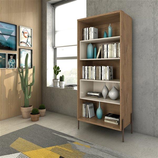 Manhattan Comfort Joy 5-Shelf Bookcase - 30.71-in x 70.28-in - Off White/Wood
