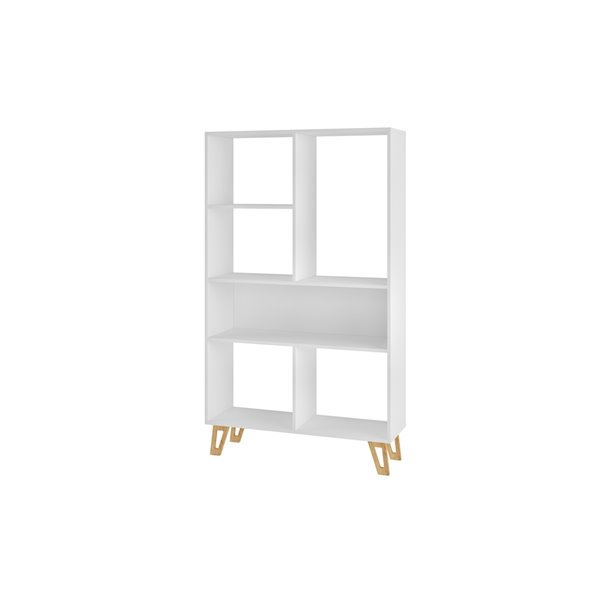Manhattan Comfort Doris 6-Shelf Mid-Century Bookcase - 35.43-in x 60.23-in - White