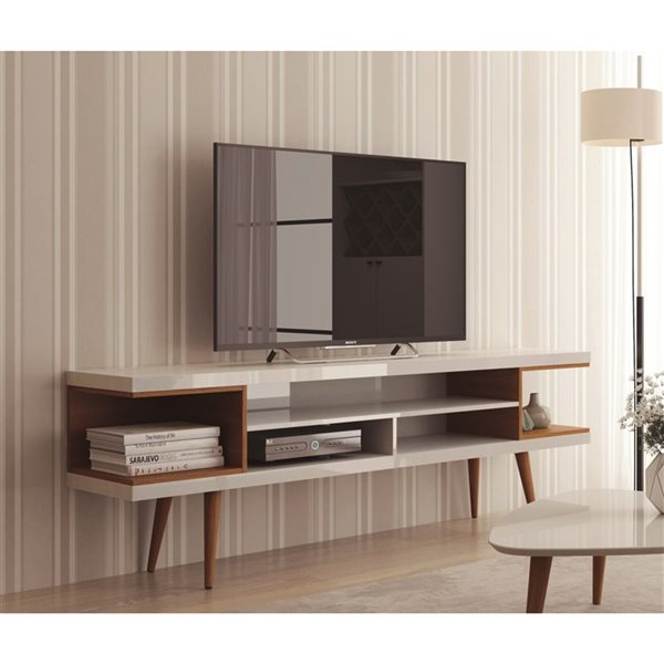 Manhattan Comfort Utopia TV Stand with Splayed Legs and Shelves - 70.47-in x 24.01-in - Gloss White/Maple Cream