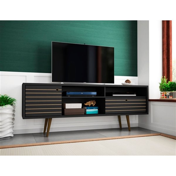 Manhattan Comfort Liberty TV Stand with Shelves and Drawer - 70.86-in x 26.57-in - Black