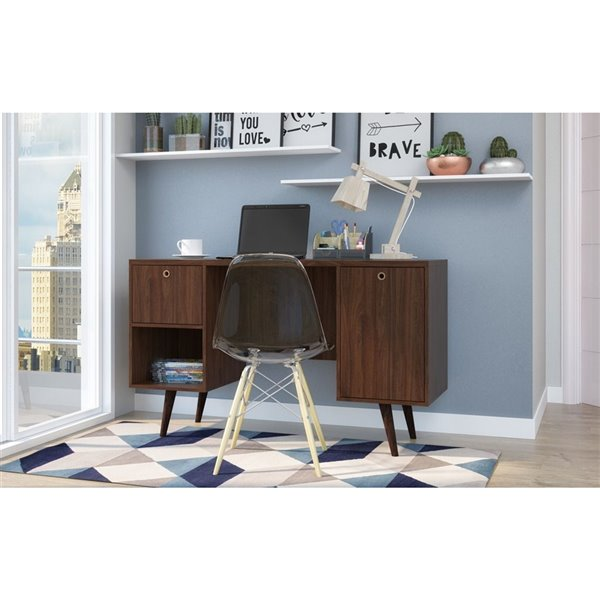 Manhattan Comfort Edgar 1-Drawer Mid-Century Office Desk - 53.14-in x 30.9-in - Dark Brown