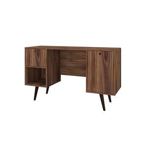 Manhattan Comfort Edgar 1-Drawer Mid-Century Office Desk - 53.14-in x 30.9-in - Dark Brown