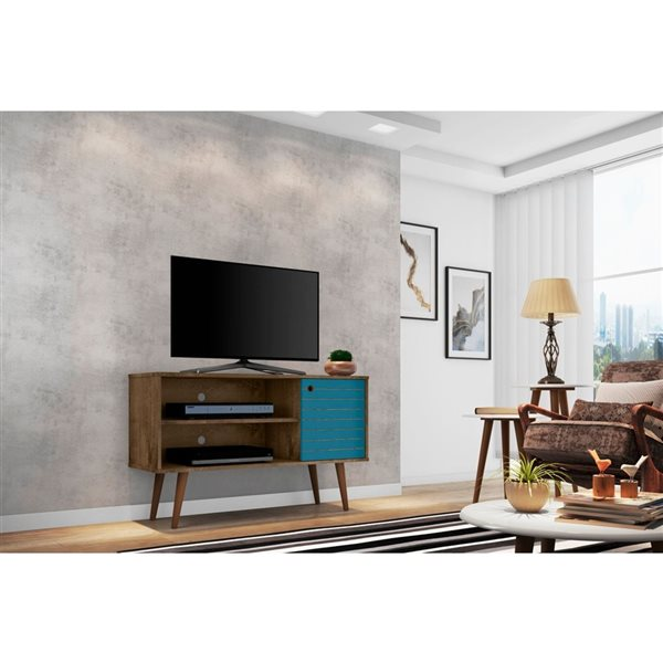 Manhattan Comfort Liberty TV Stand with 2 Shelves and 1 Door - 42.52-in x 25.8-in - Rustic Brown/Aqua Blue
