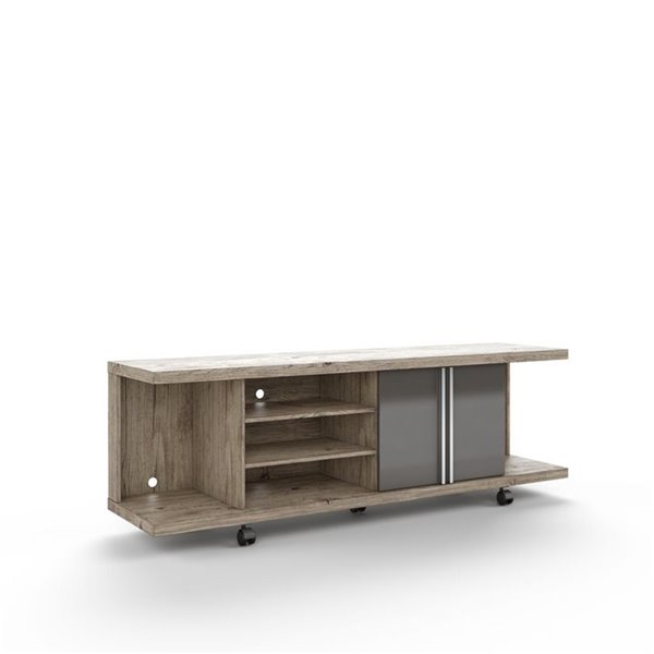 Manhattan Comfort Carnegie TV Stand with Shelves - 71-in x 23.6-in - Nature/Onyx