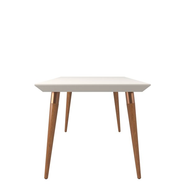 Manhattan Comfort Utopia Modern Bevelled Dining Table with Glass Top - 70.86-in x 30.31-in - Off White/Maple Cream