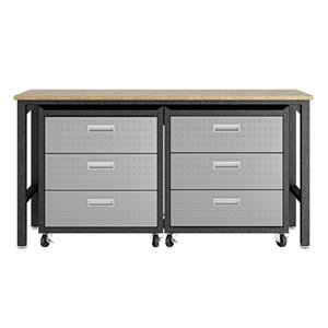 Manhattan Comfort Fortress 3-Piece Mobile Garage Cabinet and Worktable 6.0 - 72.4-in x 37.6-in - Grey