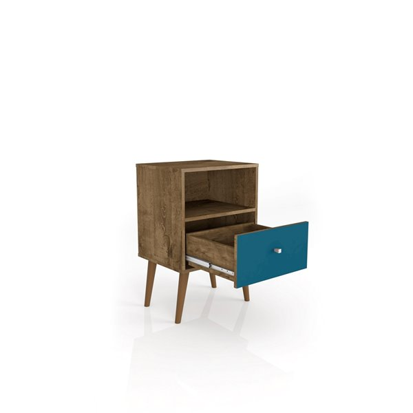 Manhattan Comfort Liberty Nightstand 1.0 with Cubby Space - 17.72-in x 27.09-in - Rustic Brown/Aqua Blue
