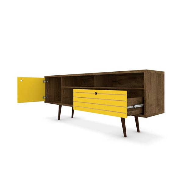 Manhattan Comfort Liberty TV Stand with Shelves and Drawer - 70.86-in x 26.57-in - Rustic Brown/Yellow