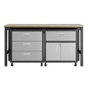Manhattan Comfort Fortress 3-Piece Mobile Garage Cabinet and Worktable 5.0 - 72.4-in x 37.6-in - Grey