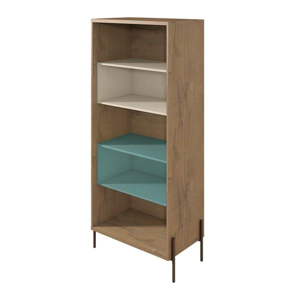 Manhattan Comfort Joy 5-Shelf Bookcase - 30.71-in x 70.28-in - Blue/Off White/Wood