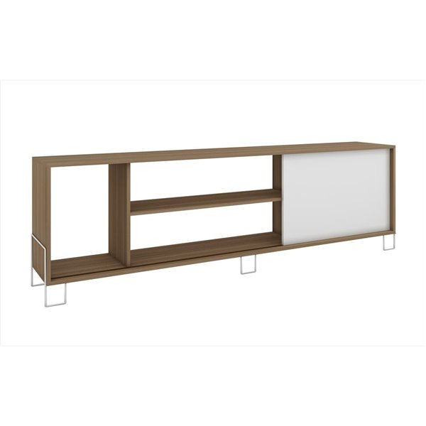 Manhattan Comfort Nacka TV Stand 1.0 with Shelves - 70.87-in x 22.05-in - Oak/White