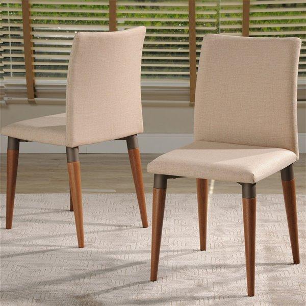 Manhattan Comfort Charles Dining Chair - Wood/Fabric - 17.71-in x 36.22-in - Dark Beige