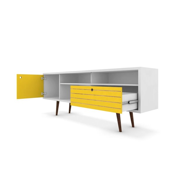 Manhattan Comfort Liberty TV Stand with Shelves and Drawer - 70.86-in x 26.57-in - White/Yellow