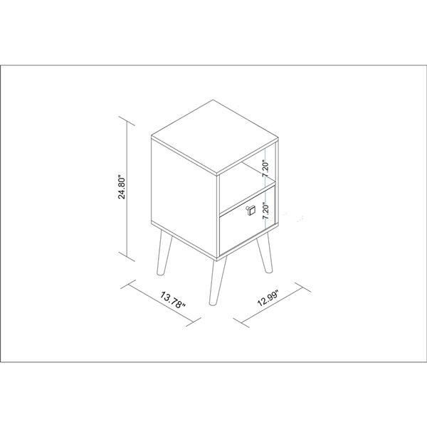 Manhattan Comfort Abisko Side Table with 1 Shelf - 12.99-in x 24.8-in - Oak/Multicolour