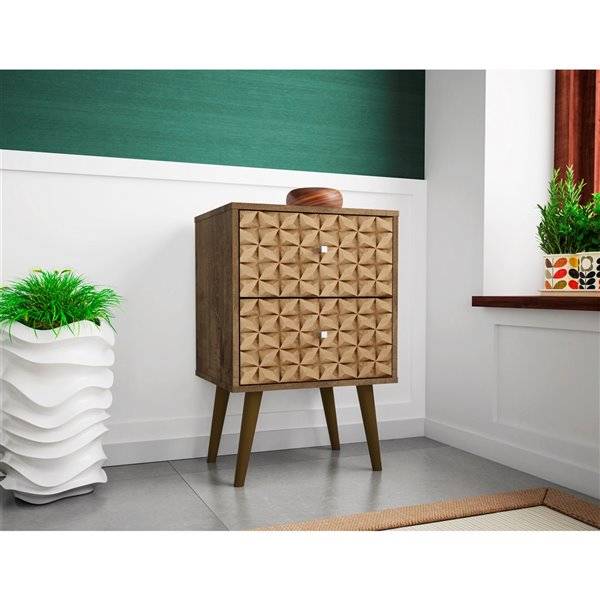 Manhattan Comfort Liberty Nightstand 2.0 with 2 Drawers - 17.72-in x 27.09-in - Rustic Brown/3D Brown Prints