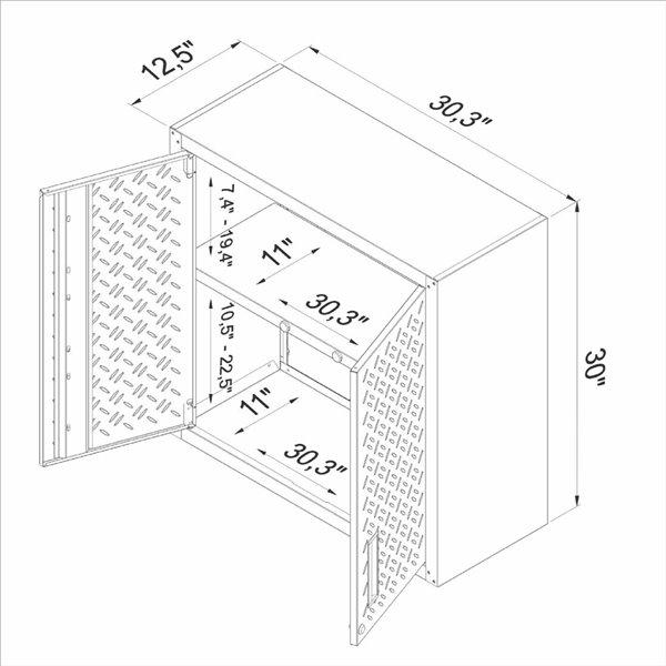 Manhattan Comfort Fortress Floating Garage Cabinet - 30-in x 30.3-in - Grey - Set of 2