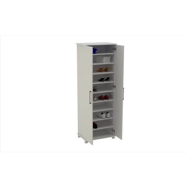 Manhattan Comfort Catalonia Mobile Shoe Closet 1.0 with 10 Shelves - 23.62-in x 67.95-in - White
