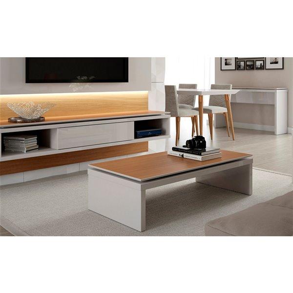 Manhattan Comfort Lincoln Rectangular Coffee Table - 47.24-in x 12.59-in - Off White/Maple Cream