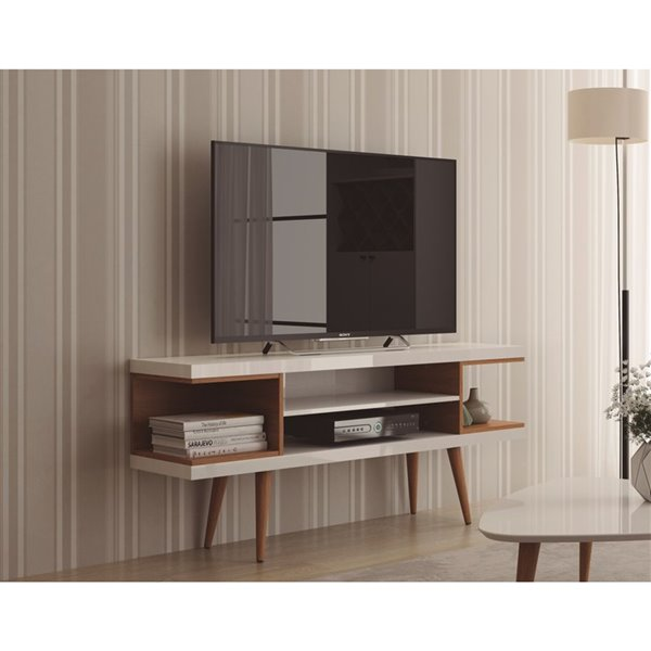 Manhattan Comfort Utopia TV Stand with Splayed Legs and Shelves - 53.14-in x 24.01-in - Gloss White/Maple Cream