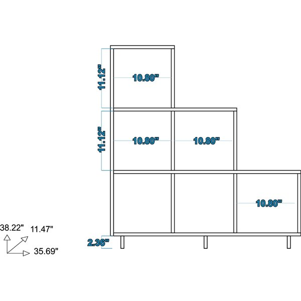 Manhattan Comfort Cascavel Stair Cubbies - 36.22-in x 38.58-in - White