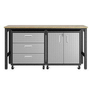 Manhattan Comfort Fortress 3-Piece Mobile Garage Cabinet and Worktable 3.0 - 72.4-in x 37.6-in - Grey