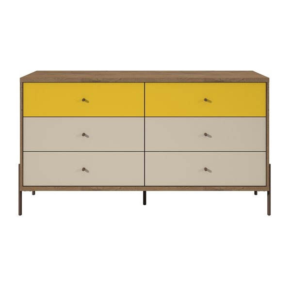 Manhattan Comfort Joy Double Dresser with 6 Drawers - 59.06-in x 32.48-in - Yellow/Off White/Oak