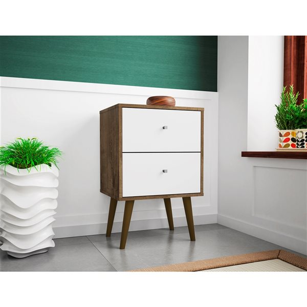 Manhattan Comfort Liberty Nightstand 2.0 with 2 Drawers - 17.72-in x 27.09-in - Rustic BrownWhite