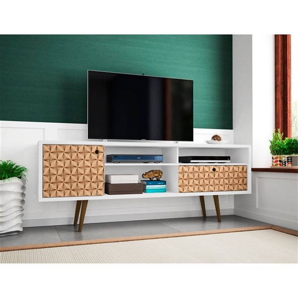 Manhattan Comfort Liberty TV Stand with Shelves and Drawer - 70.86-in x 26.57-in - White/3D Prints