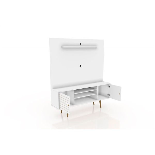 Manhattan Comfort Liberty Entertainment Centre with Overhead Shelf - 63-in x 71.92-in - White/Wood