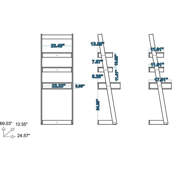 Manhattan Comfort Carpina Ladder Desk with 2 Shelves - 24.8-in x 69.69-in - White