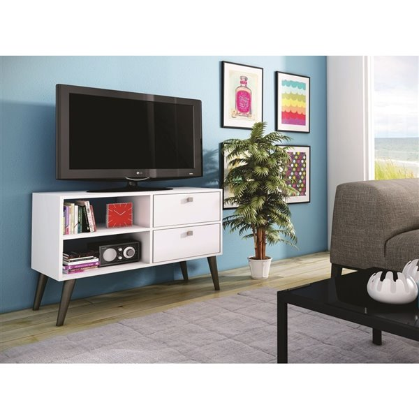 Manhattan Comfort Dalarna TV Stand with 2 Shelves and 2 Drawers - 35.43-in x 24.8-in - White