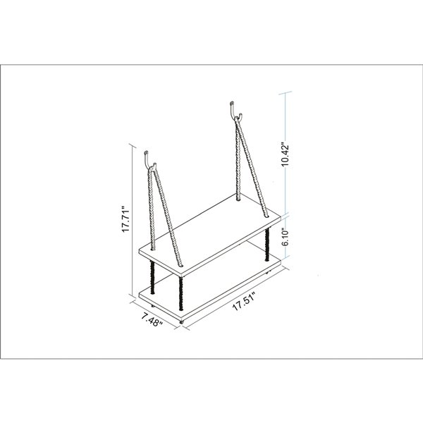 Manhattan Comfort Uptown 2.0 Swing Shelf with Rope - 17.52-in x 17.72-in - White