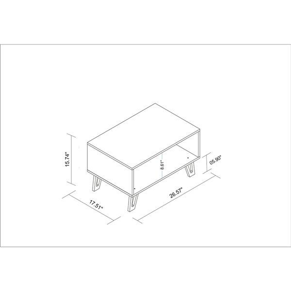 Manhattan Comfort Doris 1-Open Cubby Mid-Century Coffee Table - 26.57-in x 15.74-in - White