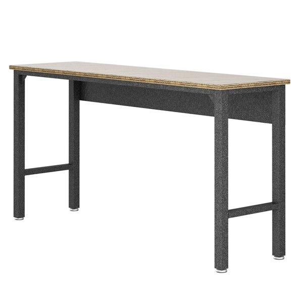 Manhattan Comfort Fortress Garage Table - Steel/MDP - 72.4-in x 37.6-in - Grey