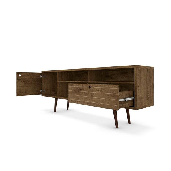 Manhattan Comfort Liberty TV Stand with Shelves and Drawer - 70.86-in x 26.57-in - Rustic Brown