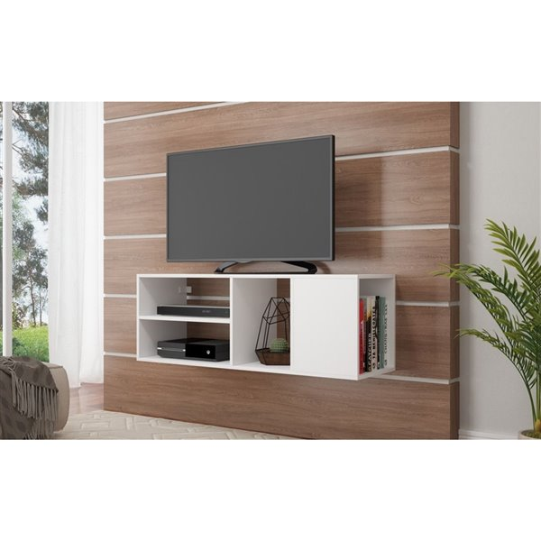 Manhattan Comfort Minetta Floating TV Stand with 4 Shelves - 46.06-in x 16.14-in - White