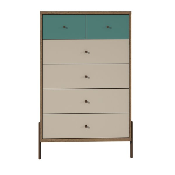 Manhattan Comfort Joy Tall Dresser with 6 Drawers - 30.71-in x 48.43-in - Blue/Off White/Oak