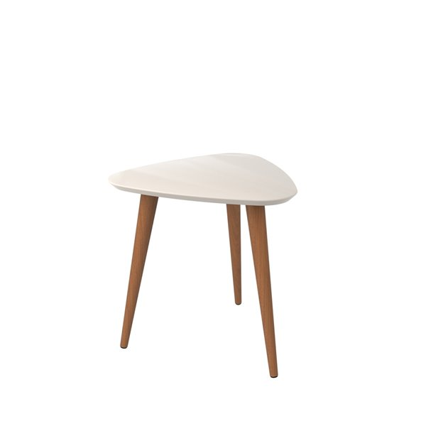 Manhattan Comfort Utopia High Triangular End Table with Splayed Wooden Legs - 20.07-in x 19.68-in - Off White