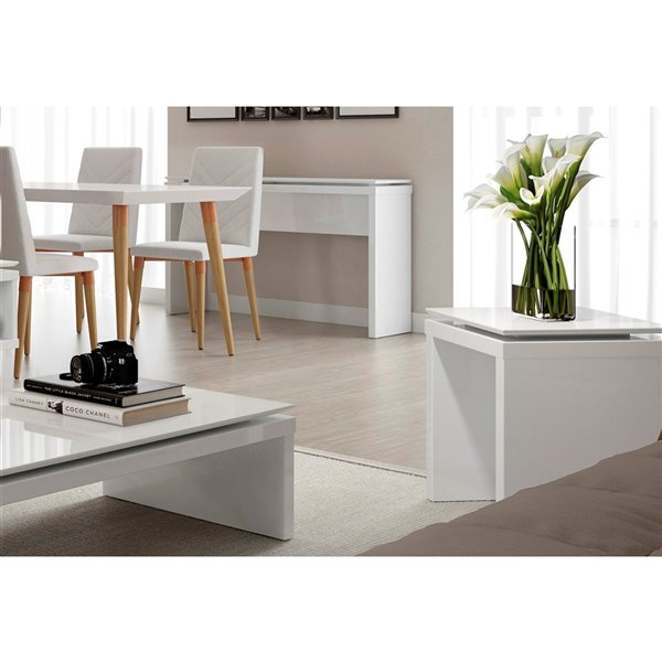 Manhattan Comfort Lincoln Square End Table - 17.32-in x 20.07-in - Gloss White