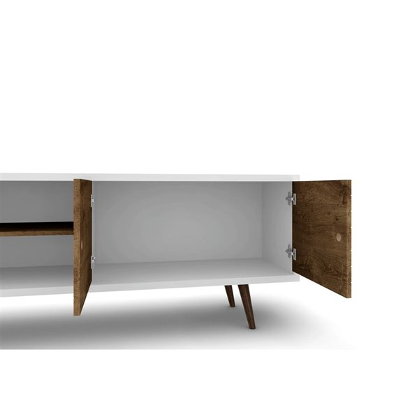Manhattan Comfort Liberty TV Stand with 3 Shelves and 2 Doors - 62.99-in x 25.59-in - White/Rustic Brown