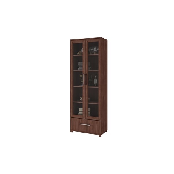 Manhattan Comfort Serra Bookcase 1.0 with 5 Shelves - 27.56-in x 71.85-in - Nut Brown