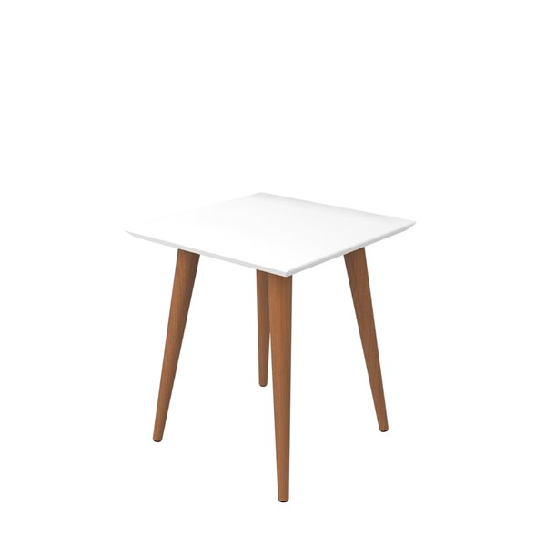 Manhattan Comfort Utopia High Square End Table with Splayed Wooden Legs - 17.32-in x 19.68-in - Gloss White
