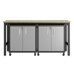 Manhattan Comfort Fortress 3-Piece Mobile Garage Cabinet and Worktable 1.0 - 72.4-in x 37.6-in - Grey